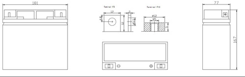batería rt12180 vrla de 12v 18ah
