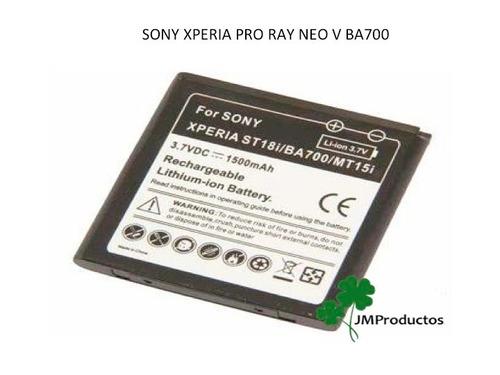 bateria sony xperia pro, ray, sx, neo v, miro, ba700 mt15i