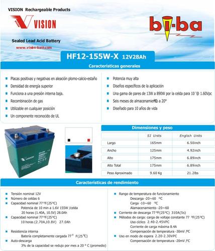 batería vision fw-155w agm reemplazo yb30cl-b moto de agua