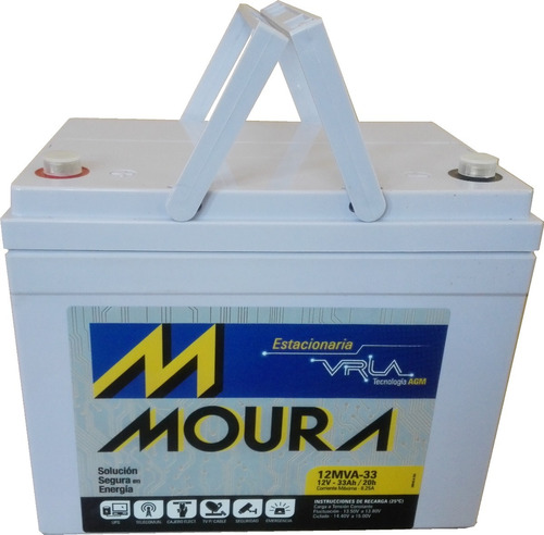 batería vrla agm 12 v. 33 ah, moura ciclo profundo