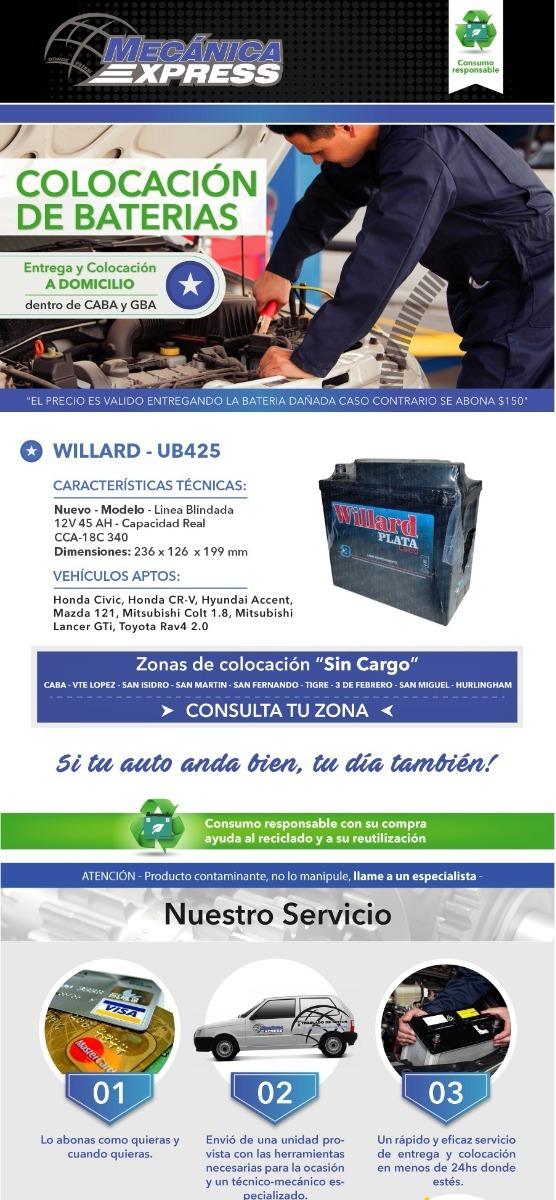 Bateria Willard Ub425 12x50 Honda Civic Cr-v Colocacion - $ 3.400,00 ...