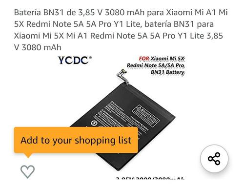 bateria  xiaomi bn 31 bn44 bn43 bm3jredmi note 4x 5a mi a1