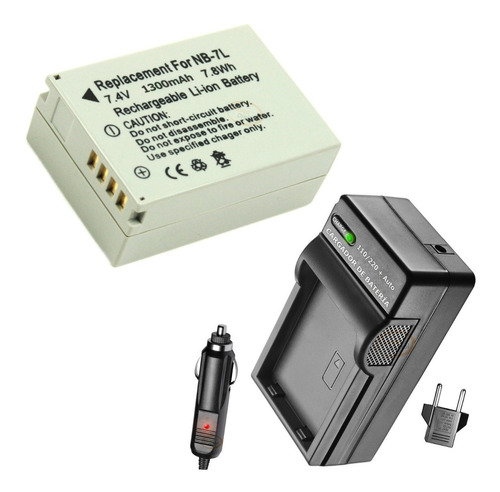 batería y cargador nb-7l cámara powershot g10 g11 g12 sx30 +