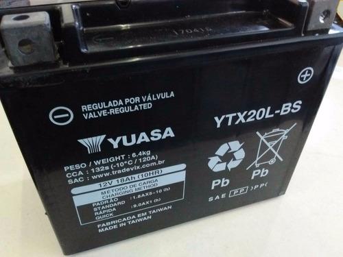 bateria ytx20l-bs yuasa harley davidson deluxe/dyna/fat boy