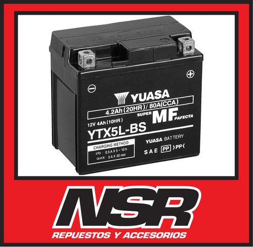 bateria yuasa ytx5l bs honda cg titan 150 biz 125 nsr motos