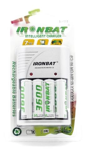 baterias 3600mah aa recargable x 4 pack+ cargador + obs