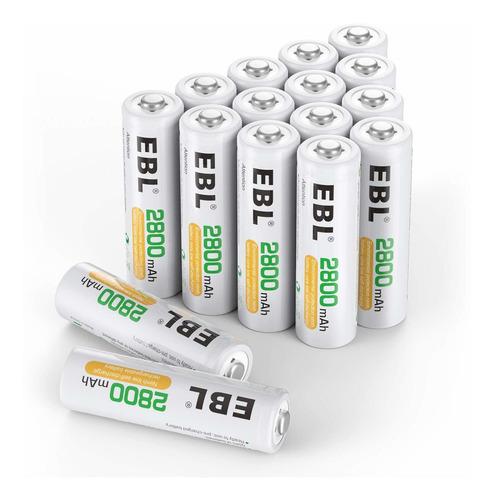 baterias aa recargables 2800 mah paquete de 4 pilas ebl dobl
