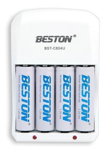 baterias beston aa recargable x 4 pack + cargador pila