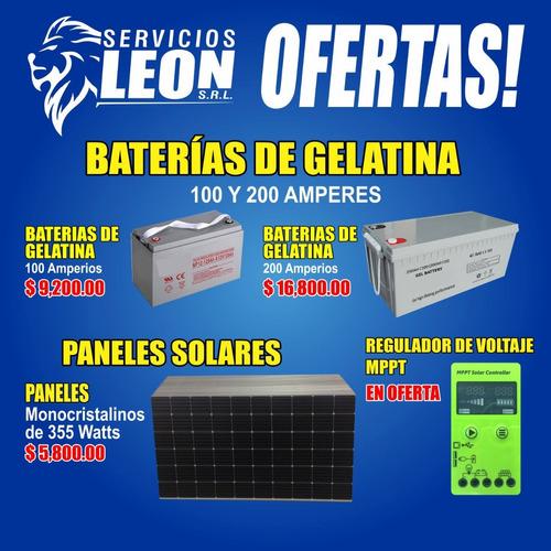 baterias de gelatina, paneles solares , reguladores