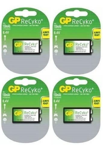baterias recargables 9v gp recyko nimh 150mah son 4 unidades