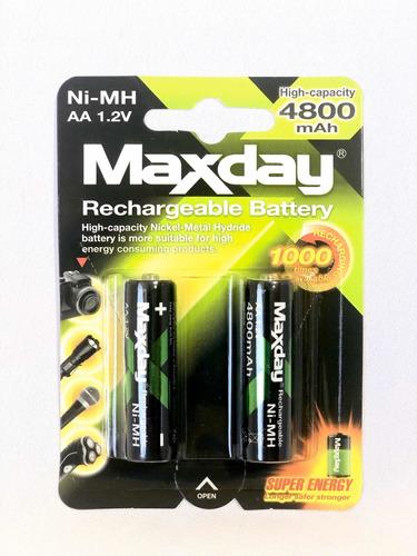 baterías recargables aa - maxday - 4800mah -  pilas