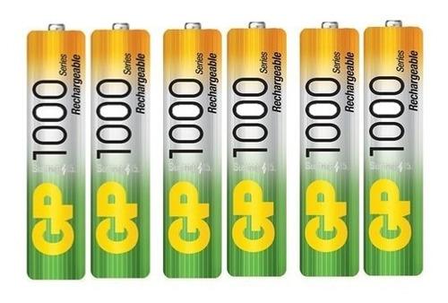 baterias recargables aaa gp nimh 1000mah pack de 6