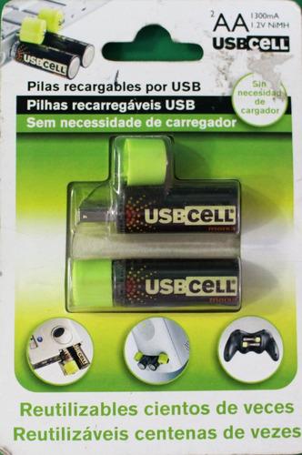 baterias recargables aax2 via usb 1300 mah usbcell