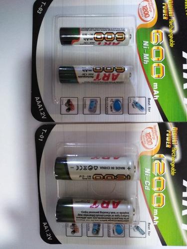 baterias recargables doble aa o triple aaa