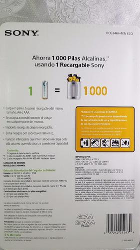 baterias recargables sony cargador + 4 pilas aa + 2 aaa