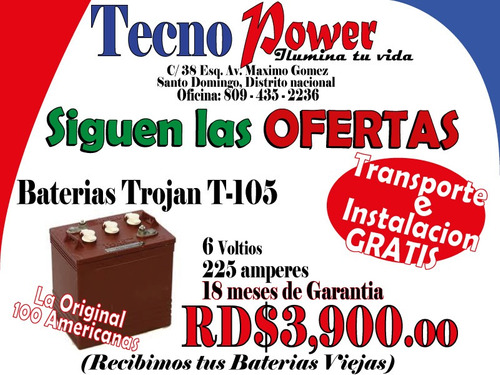 baterias tronic de inversores en o f e r t a * 809-435-2236