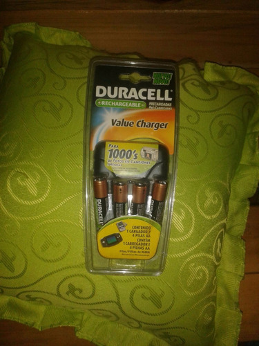 baterías y cargador duracell+ 04 baterias aa importados