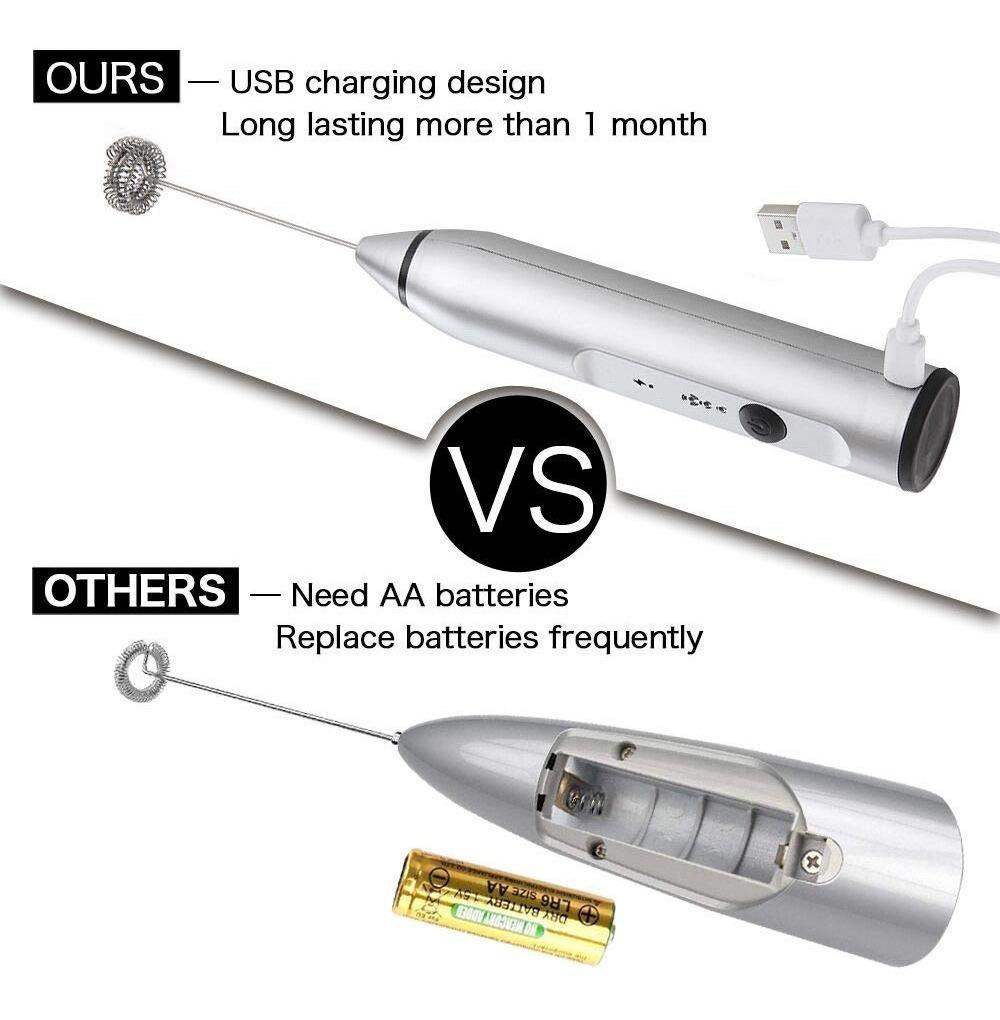 chocolate sin BPA batidor de leche USB recargable de acero inoxidable para capuchino W1 Espumador de leche el/éctrico para capuchino