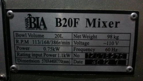 batidora industrial 20 litros  marca matbia nueva