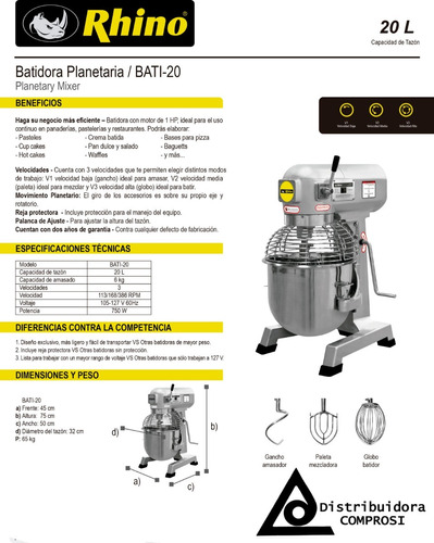 batidora industrial planetaria 20 litros bati-20 rhino 20lts