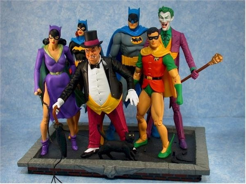 batman and robin, joker-batgirl silver age dc direct batman