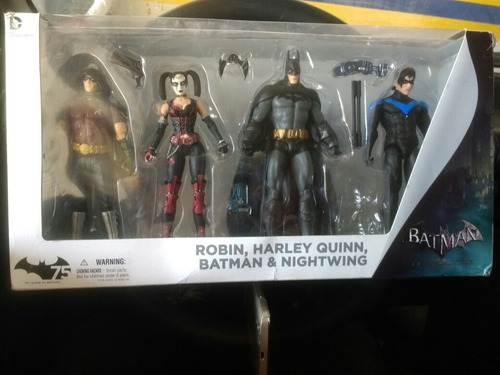 batman arkham city . robin, batman, harley , nigthwing
