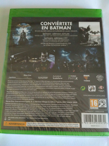 batman return to arkham xbox one eu nuevo sellado envio grat