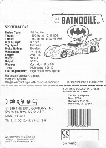 batmobile ertl 1989 nuevo tim burton