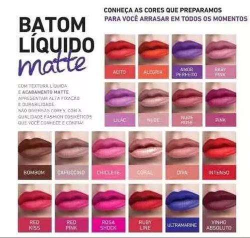 batom líquido matte fashion cosméticos kit com 12 und.cores