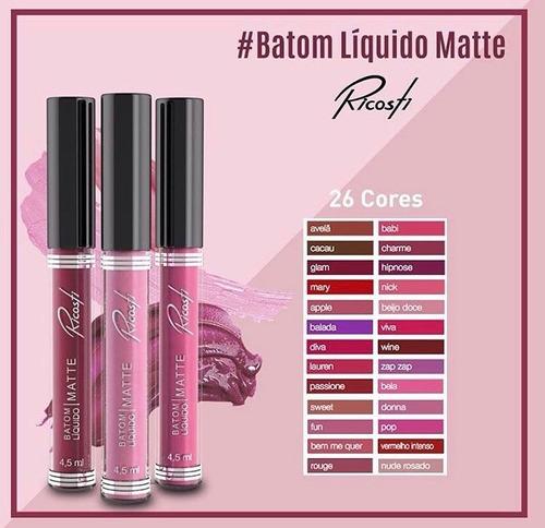 Batom Liquido Efeito Matte Ricosti - Cores A Escolher - R