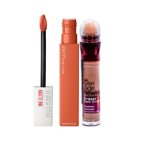 batom matte ink fighter + corretivo eraser honey maybelline