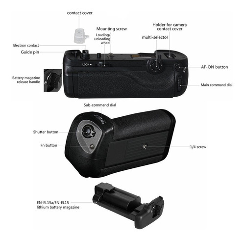 battery grip mb-d18 para nikon d850 com nf
