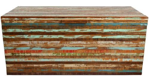 baú 80x45x45 madeira de demolição em ripinha colorida