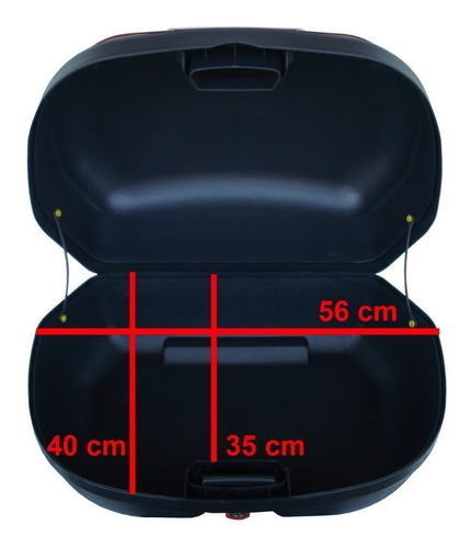 baú bauleto moto 45 litros vermelho pro tork p/ 2 capacete