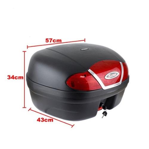baú bauleto motocicleta 46 litros c/ reflexivo 2 capacetes