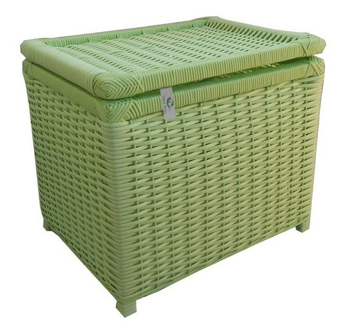 baú cesto organizador de fibra sintética verde 42x32x36