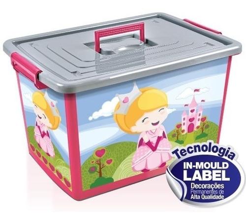 bau container caixa organizador infantil de brinquedos 50lts