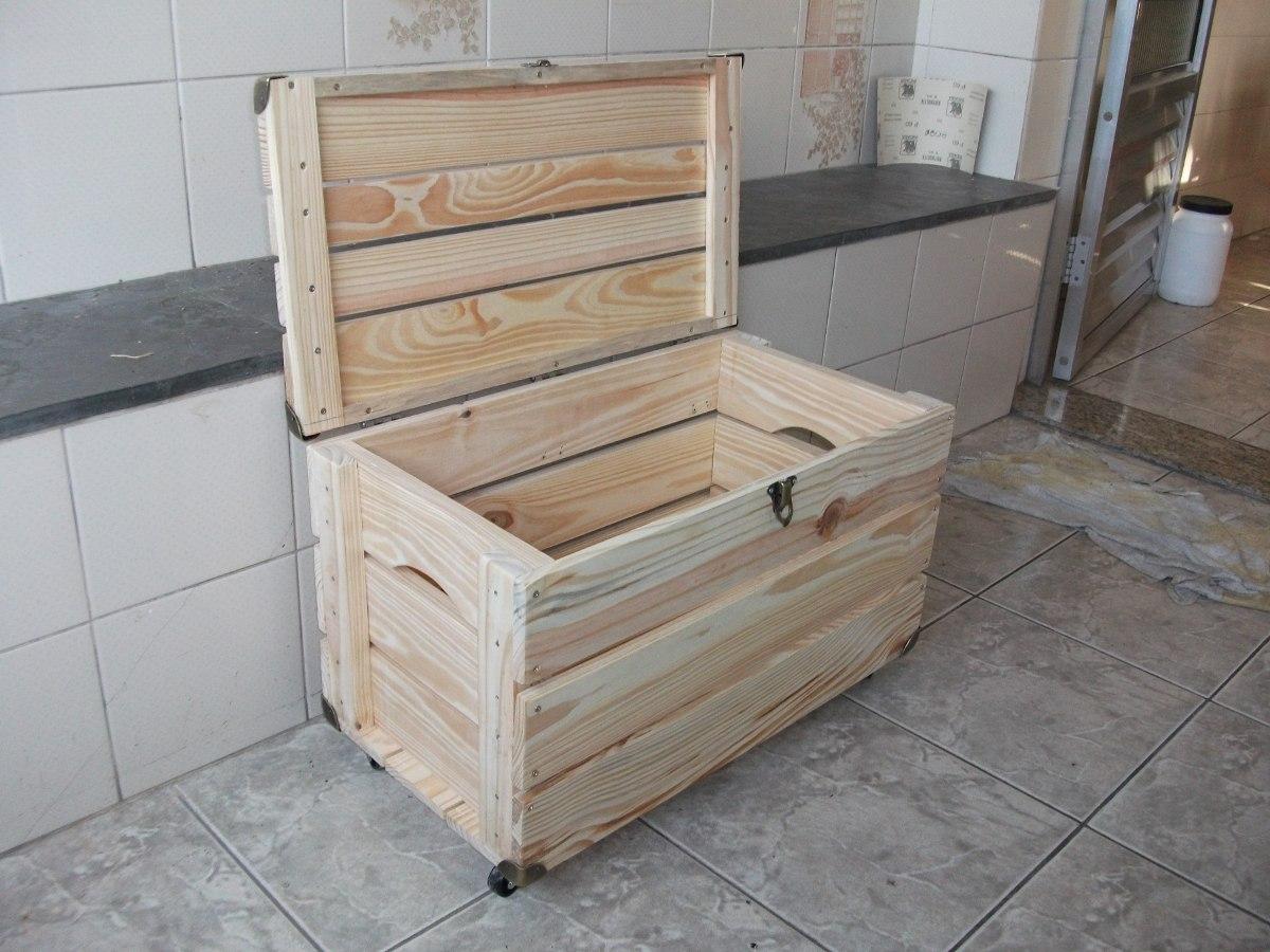 Bau De Caixote De Feira ( Com Rodizios ) Novo  R$ 149,90 em Mercado Livre -> Banheiro Decorado Com Caixote De Feira