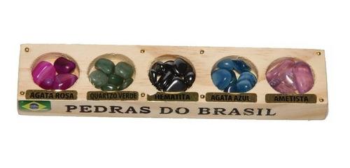 baú de madeira c/ pedras preciosas roladas/souvenir brasil