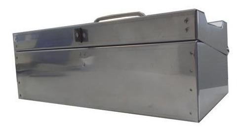 bau inox 30 cm para ferramentas caixa maleta em aço inox