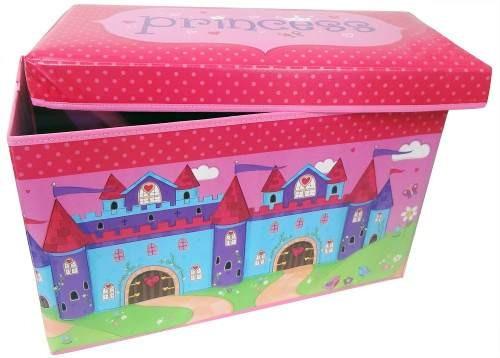 bau puff infantil guarda brinquedo caixa rosa organizadora