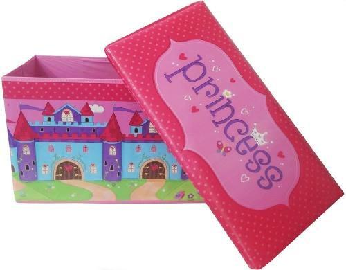 bau puff infantil guarda brinquedo rosa caixa organizadora
