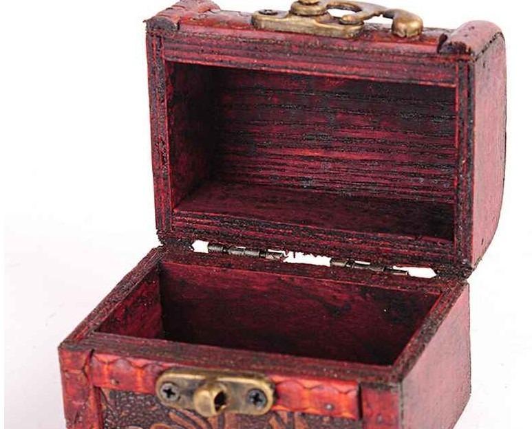 Ba l antiguo madera joyero cerradura herraje retro vintage - Baul de madera antiguo ...