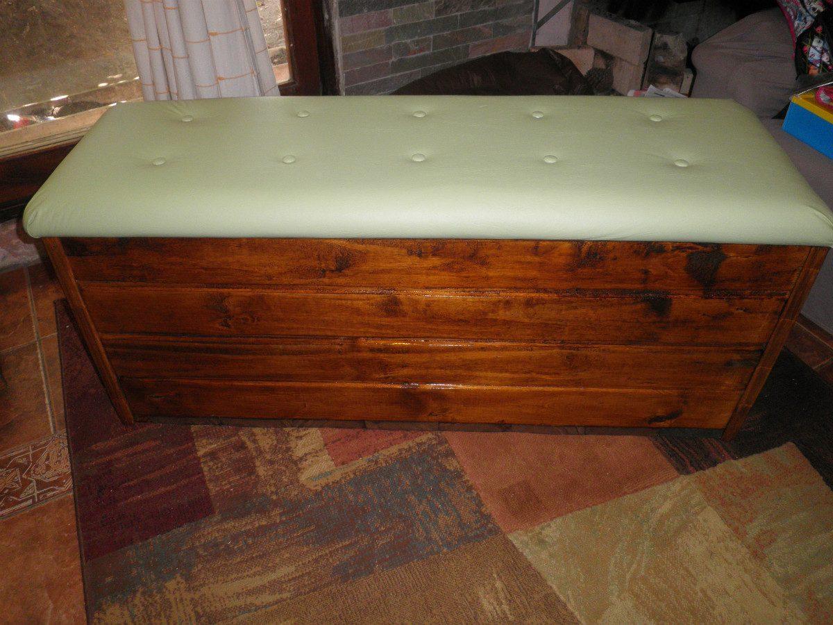 Baul baules de madera rusticos tapizados en - Como decorar un baul de madera ...