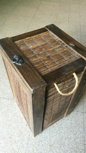 baúl canasto c tapa de caña y madera, manija soga 35x35x62