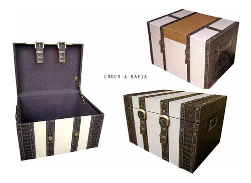 baúl cofre madera tapizado organizador mediano