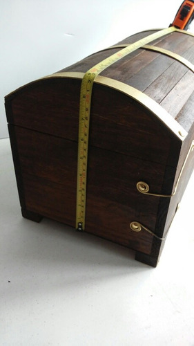 baul de madera artesanal xxl 36 cm tipo pirata