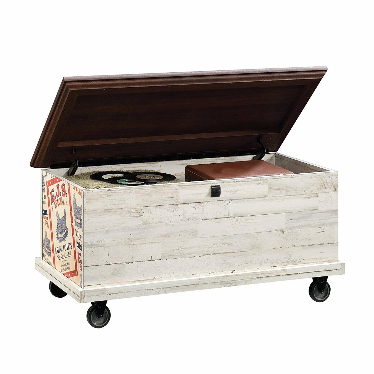 Ba l mesa de centro almacenamiento vintage con ruedas - Baul mesa de centro ...