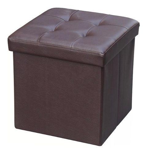 baúl puff plegable en eco cuero marrón muebles web