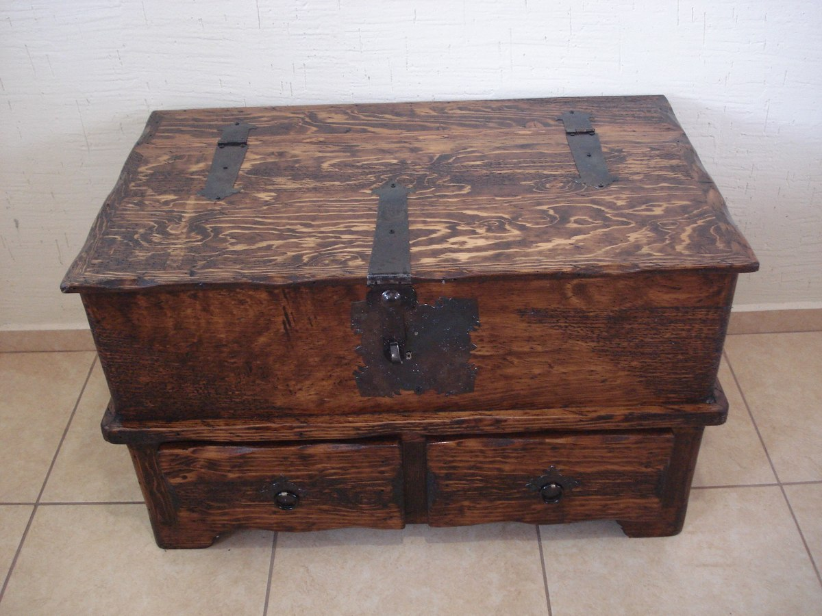 Ba l r stico mesa con cajones madera de pino apolillada - Mesas con cajones ...